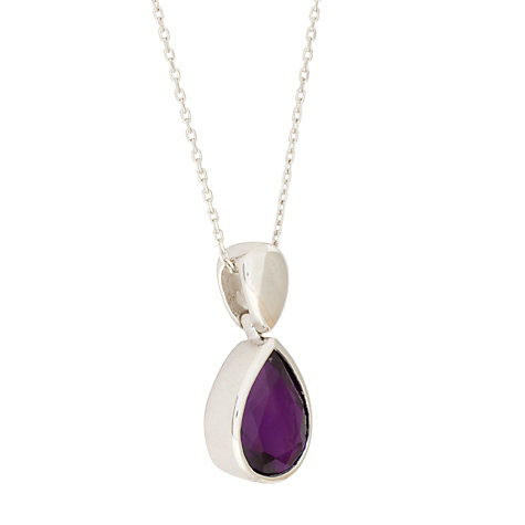 Buy EWA White Gold Amethyst Pendant Necklace Online at johnlewis.com