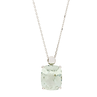 London Road 9ct White Pendant Necklace, Green Amethyst