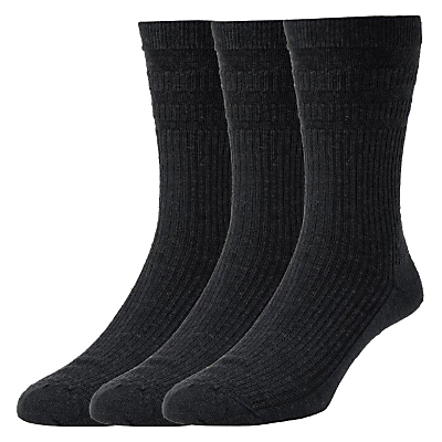 HJ Hall Cotton Socks, Pack of 3, One Size, Black
