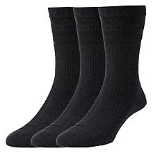 Buy HJ Hall Cotton Socks, Pack of 3, Black Online at johnlewis.com