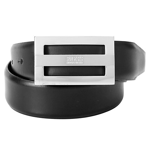 Buy BOSS Benson Leather Belt, Black Online at johnlewis.com
