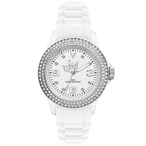 Buy Ice-Watch ST-BS-S-S LDS Unisex Stone Sili Collection Strap Watch, White Online at johnlewis.com