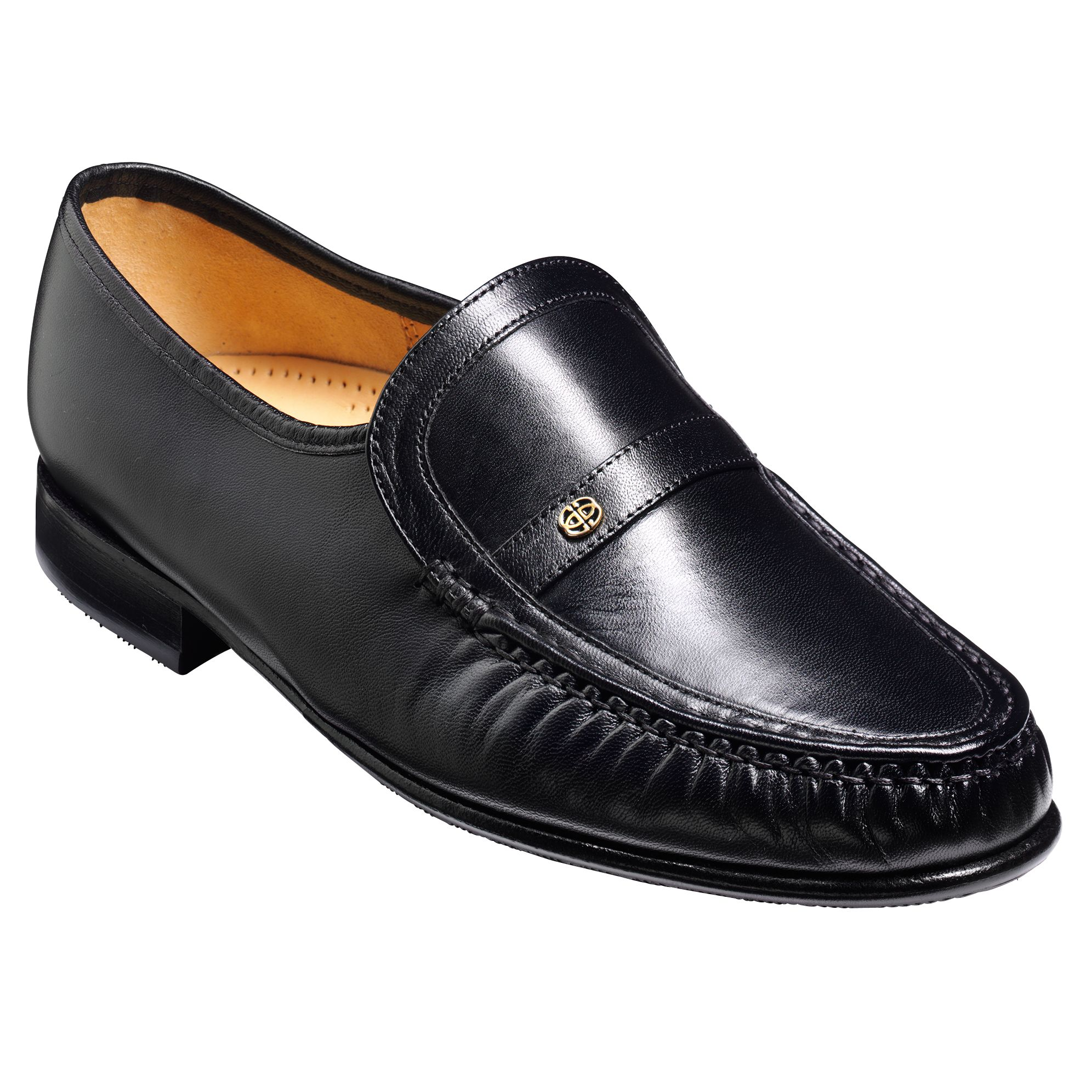 Barker Barkers Jefferson Leather Moccasin Shoes, Black