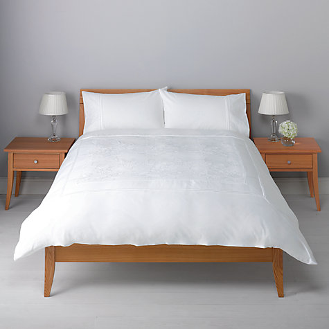 Buy John Lewis Cord Flower Duvet Cover and Pillowcase Set, White Online at johnlewis.com