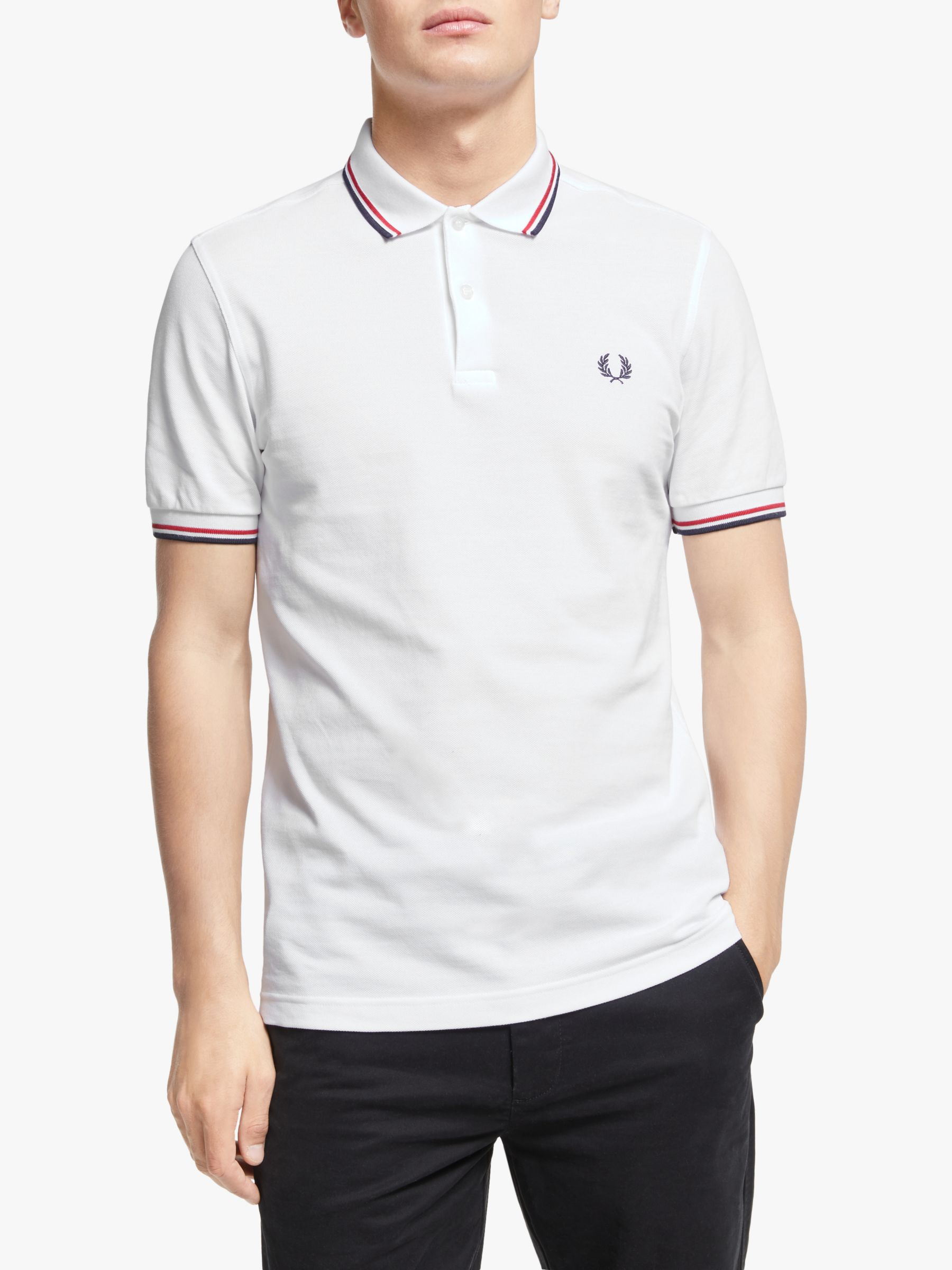Fred Perry Twin Tipped Slim Fit Polo Shirt WhiteRedNavy