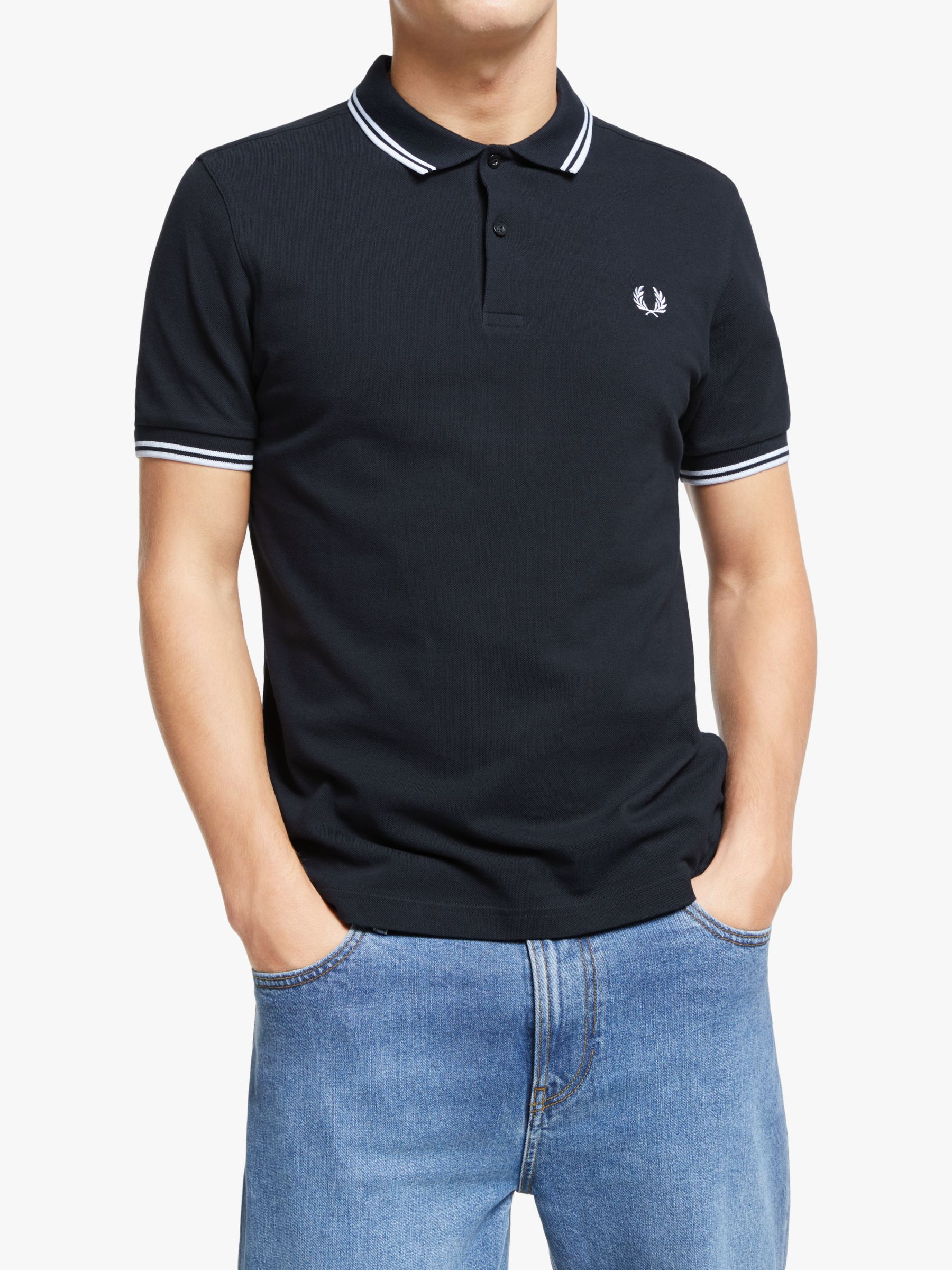 Fred Perry Twin Tipped Slim Fit Polo Shirt NavyWhiteWhite