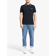 Buy Fred Perry Twin Tipped Slim Fit Polo Shirt, Navy/White Online at johnlewis.com