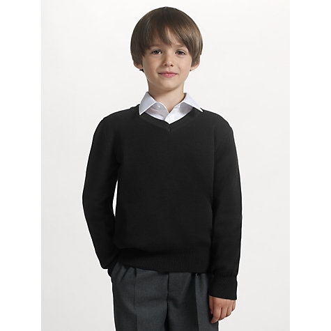 Buy John Lewis Unisex School V-Neck Jumper, Black Online at johnlewis.com