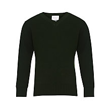 Buy John Lewis Unisex School V-Neck Jumper, Bottle Green Online at johnlewis.com