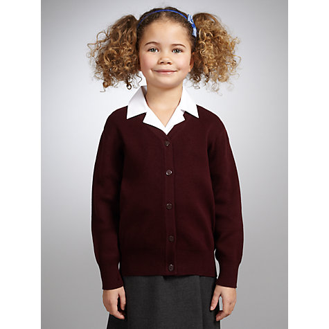Buy John Lewis V-Neck Cardigan, Maroon Online at johnlewis.com