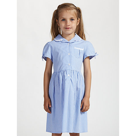 Buy John Lewis Check Print Cotton Summer Dress, Blue Online at johnlewis.com
