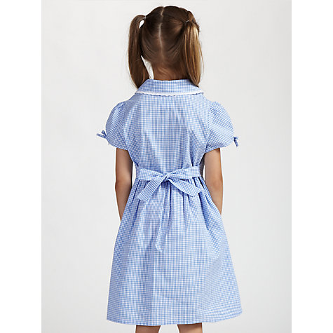 Buy John Lewis Check Print Cotton Summer Dress, Blue Online at ...
