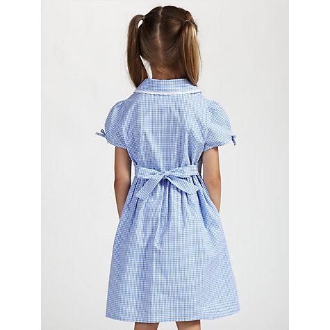 Buy John Lewis Check Print Cotton Summer Dress, Blue Online at ...
