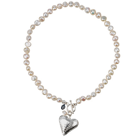 Buy Claudia Bradby Short Snake Skin Heart White Pearl Necklace Online at johnlewis.com