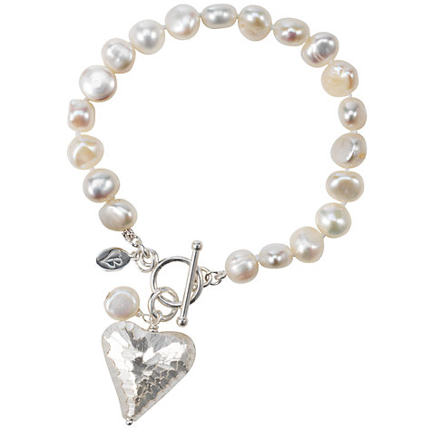 Buy Claudia Bradby Snake Skin Heart White Pearl Bracelet Online at johnlewis.com