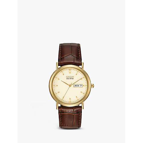 Buy Citizen Eco-Drive BM8242-08P Men's Gold Dial Leather Watch Online at johnlewis.com