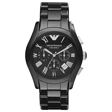 Buy Emporio Armani AR1400 Men's Valente Ceramica Chronograph Watch, Black Online at johnlewis.com