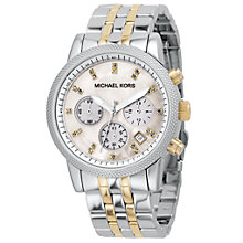 Buy Michael Kors MK5057 Women's Chronograph Stainless Steel Bracelet Watch, Silver/Gold Online at johnlewis.com