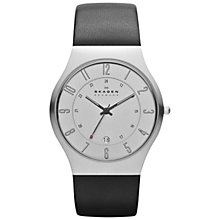 Buy Skagen 233XXLSLC Men's Stainless Steel Leather Strap Watch, Black/Silver Online at johnlewis.com
