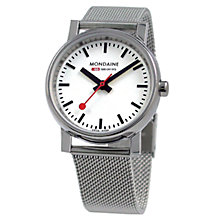 Buy Mondaine A6583030011SBV Unisex Evo Quartz Stainless Steel Bracelet Strap Watch, Silver/White Online at johnlewis.com