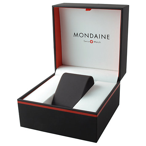 Buy Mondaine A6603034411SBB Unisex Leather Strap Watch, Black/White Online at johnlewis.com