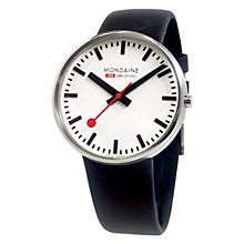 Buy Mondaine A6603032811SBB Unisex Evo Giant Size Analogue Leather Strap Watch, Black Online at johnlewis.com
