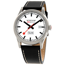 Buy Mondaine A6673030816SBB Sport Line Unisex Leather Strap Watch, Black/White Online at johnlewis.com