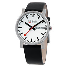 Buy Mondaine A6673034411SBB Unisex Evo Quartz Analogue Leather Strap Watch, Black Online at johnlewis.com