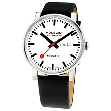 Buy Mondaine A1323030311SBB Unisex Automatic Leather Strap Watch, Black/White Online at johnlewis.com