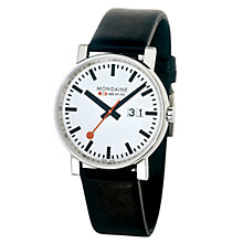 Buy Mondaine A6273030311SBB Unisex Evo Big Date Leather Strap Watch, Black/White Online at johnlewis.com