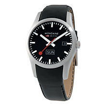 Buy Mondaine  A6673034014SBB  Retro Men's Analogue Black Dial Leather Strap Watch Online at johnlewis.com