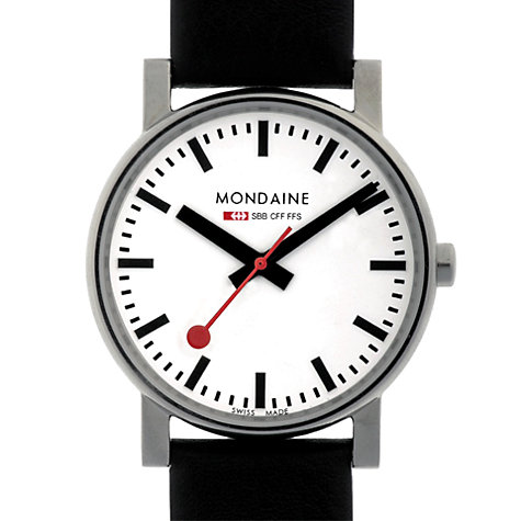 Buy Mondaine Unisex Evo Quartz Men's Analogue Leather Strap Watch Online at johnlewis.com