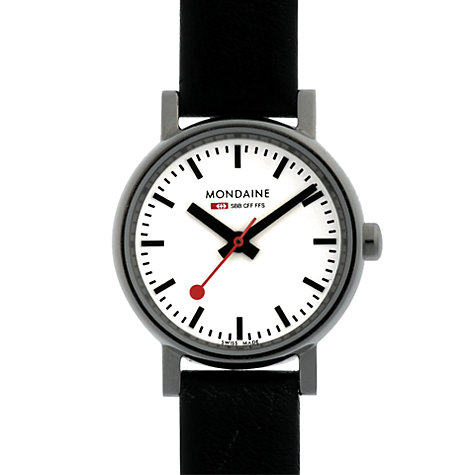 Buy Mondaine Unisex Evo Leather Strap Watch Online at johnlewis.com