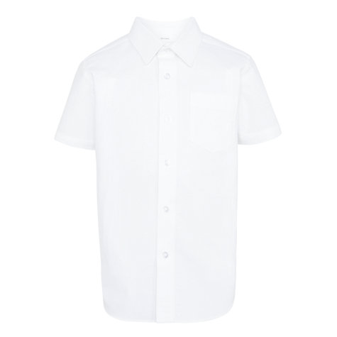 Buy John Lewis Boys' Plain Short Sleeved School Shirt, White Online at johnlewis.com