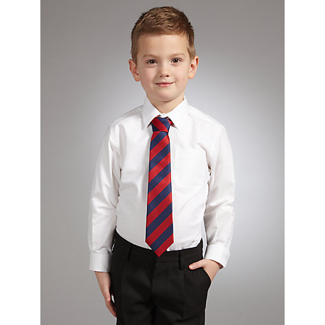 Buy John Lewis Boys' Oxford Long Sleeved Cotton School Shirt, White Online at johnlewis.com