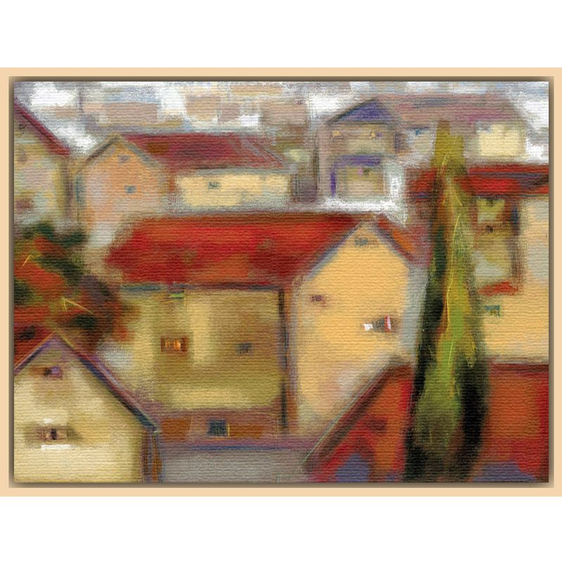 Eric Balint - Village View, Light Canvas Rim 98844
