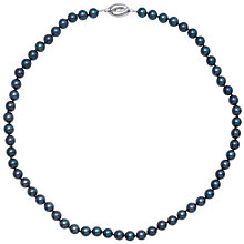 "Buy Cultured Black Pearl Knotted 18"" Necklace with White Gold Clasp Online at johnlewis.com"