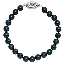 "Buy Cultured Black Pearl Knotted 7.5"" Bracelet with White Gold Clasp Online at johnlewis.com"