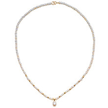 "Buy A B Davis Freshwater Pearl Oval Drop 17"" Necklace with Gold Clasp Online at johnlewis.com"