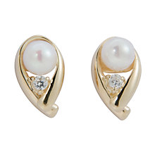 Buy A B Davis Cultured White Pearl Cubic Zirconia Stud Earrings Online at johnlewis.com