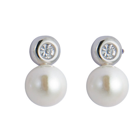 Buy A B Davis Cultured Pearl & Cubic Zirconia Stud Earrings Online at johnlewis.com