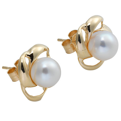 Buy A B Davis Cultured White Pearl Twist Stud Earrings Online at johnlewis.com