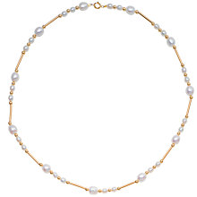 "Buy A B Davis 9ct Yellow Gold Freshwater White Pearls and Gold Bead 18"" Necklace Online at johnlewis.com"