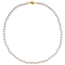 "Buy John Lewis Cultured Pearl Knotted 18"" Necklace with Gold Clasp Online at johnlewis.com"