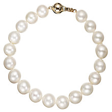 "Buy A B Davis Freshwater Lustre Pearl Knotted 7.5"" Bracelet with Gold Clasp Online at johnlewis.com"