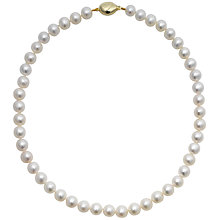 "Buy A B Davis Lustre Freshwater Cultured Pearls Knotted 18"" Necklace with Gold Clasp Online at johnlewis.com"