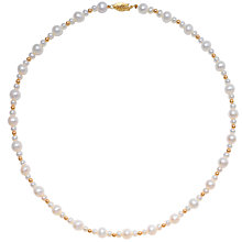 "Buy Freshwater White Pearl and Gold Bead 18"" Necklace with Gold Clasp Online at johnlewis.com"