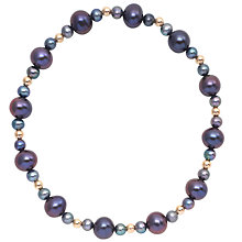 "Buy Freshwater Black Pearl and Gold Bead 7.5"" Bracelet Online at johnlewis.com"