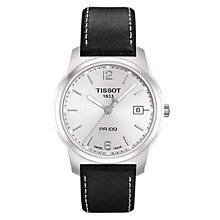 Buy Tissot T049.410.16.037.00 Men's Stainless Steel Leather Strap Watch, Black / Silver Online at johnlewis.com