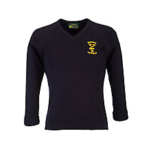 Buy Bishop's Hatfield School Girls' Logo Jumper, Navy Online at johnlewis.com